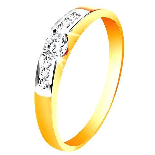 Zlatý prsteň 585 - okrúhly číry zirkón v strede