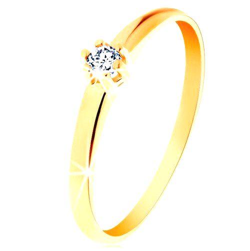 Zlatý prsteň 585 - okrúhly diamant čírej farby v šesťcípom kotlíku - Veľkosť: 60 mm