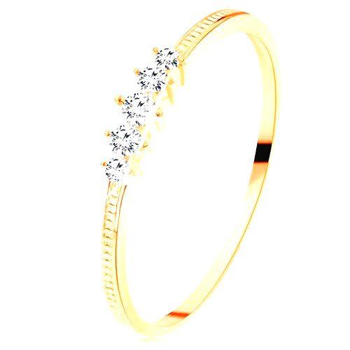 Zlatý prsteň 585 - pás trblietavých čírych zirkónikov