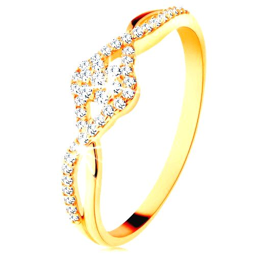 Zlatý prsteň 585 - prepletené rozdvojené ramená