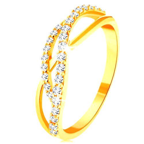 Zlatý prsteň 585 - prepletené vlnky - jedna hladká a dve zirkónové - Veľkosť: 60 mm