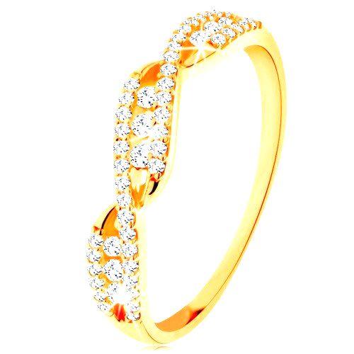Zlatý prsteň 585 - prepletené zvlnené ramená