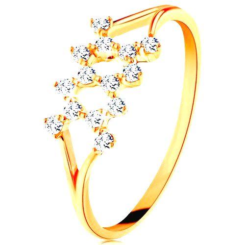 Zlatý prsteň 585 - rozdelené zahnuté ramená