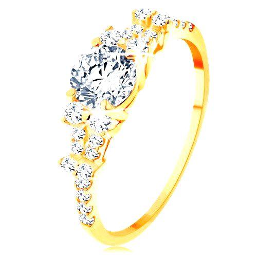 Zlatý prsteň 585 - rozdelené zirkónové ramená