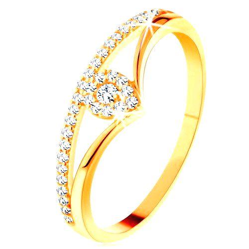 Zlatý prsteň 585 - rozdvojené zahnuté ramená