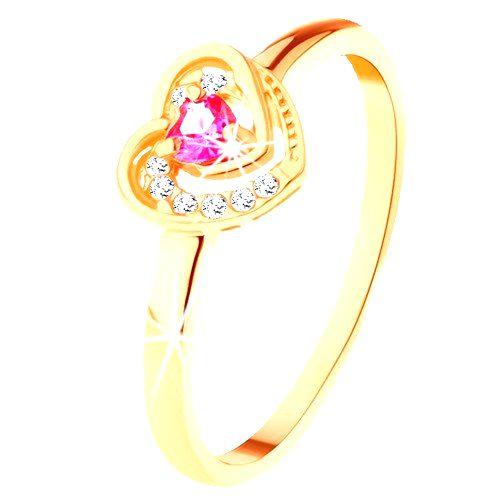 Zlatý prsteň 585 - ružové zirkónové srdiečko v dvojitom obryse - Veľkosť: 65 mm