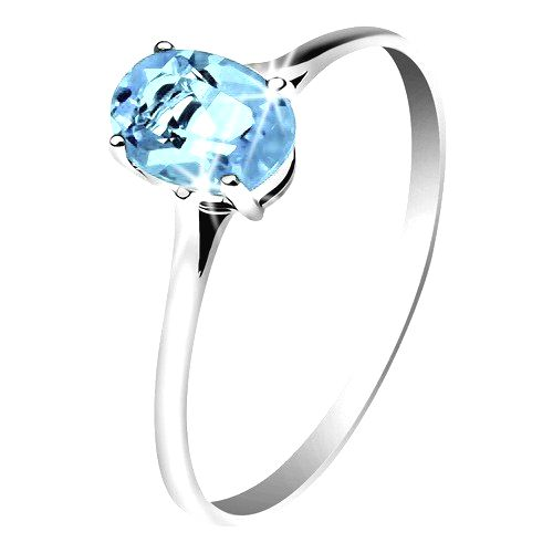 Zlatý prsteň 585 s oválnym ligotavým topásom modrej farby
