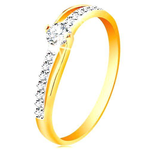 Zlatý prsteň 585 s rozdelenými dvojfarebnými ramenami