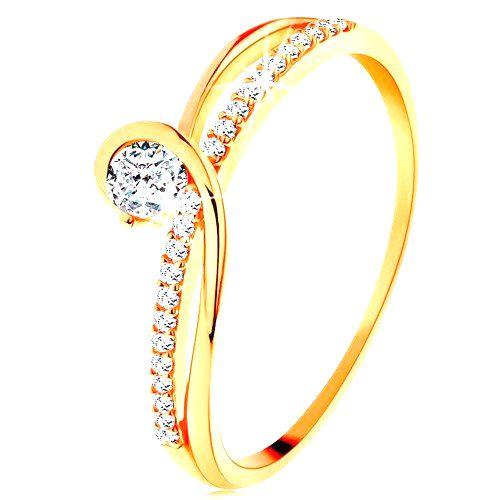 Zlatý prsteň 585 s rozdelenými prepletenými ramenami