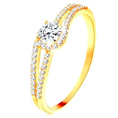 Zlatý prsteň 585 s rozdelenými trblietavými ramenami