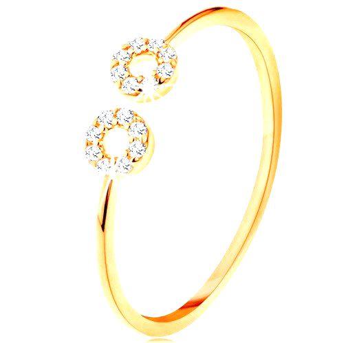 Zlatý prsteň 585 s úzkymi oddelenými ramenami