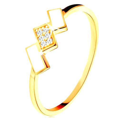 Zlatý prsteň 585 - šikmé obdĺžniky pokryté bielou glazúrou a zirkónmi - Veľkosť: 61 mm
