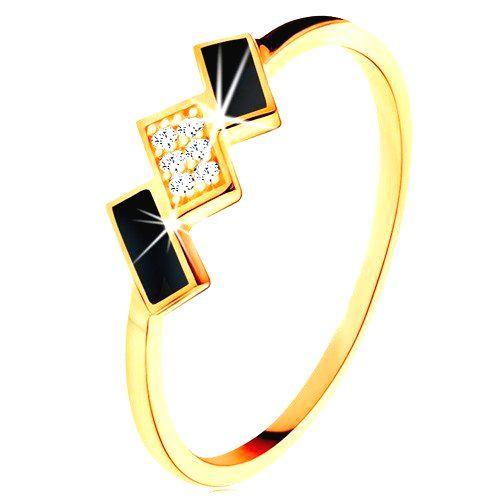 Zlatý prsteň 585 - šikmé obdĺžniky zdobené čiernou glazúrou a zirkónmi - Veľkosť: 59 mm