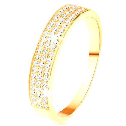 Zlatý prsteň 585 - širší pás vykladaný tromi líniami čírych zirkónikov - Veľkosť: 65 mm