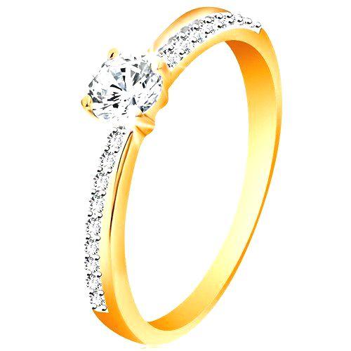 Zlatý prsteň 585 so šikmou trblietavou líniou a čírym zirkónom v kotlíku - Veľkosť: 58 mm