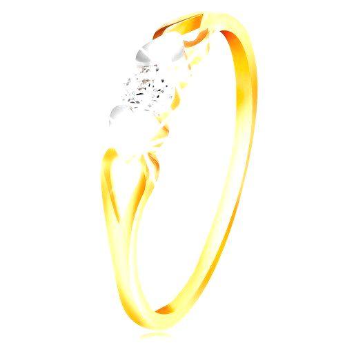 Zlatý prsteň 585 - srdiečka z bieleho zlata