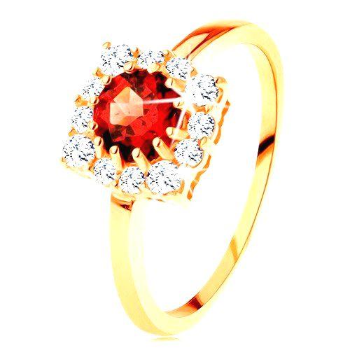 Zlatý prsteň 585 - štvorcový zirkónový obrys
