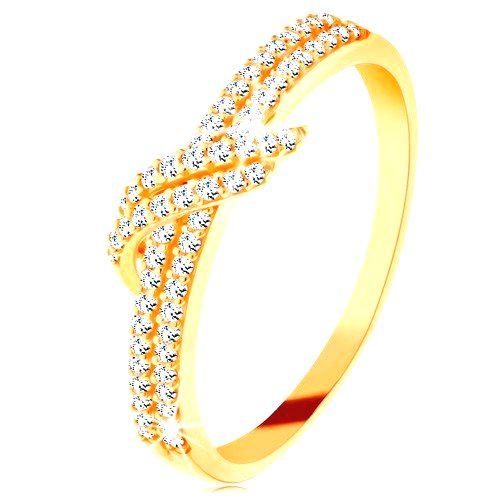 Zlatý prsteň 585 - trblietavé línie čírych zirkónikov