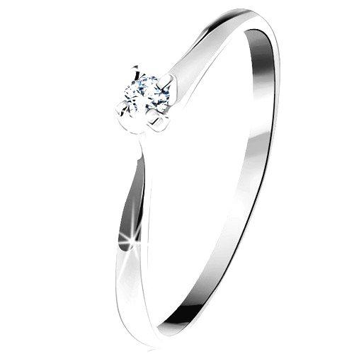 Zlatý prsteň 585 - trblietavý číry diamant v štvorcípom kotlíku