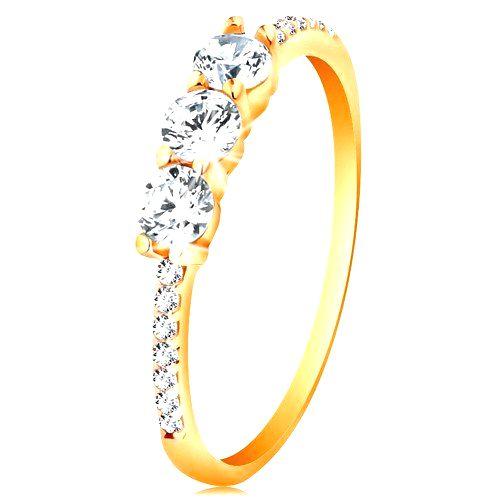 Zlatý prsteň 585 - tri číre vyvýšené zirkóny