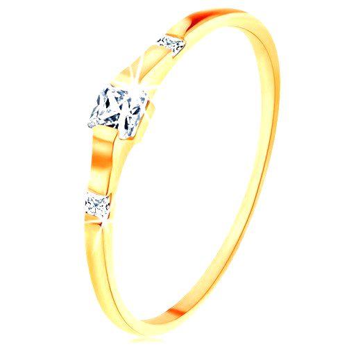 Zlatý prsteň 585 - tri číre zirkónové štvorčeky