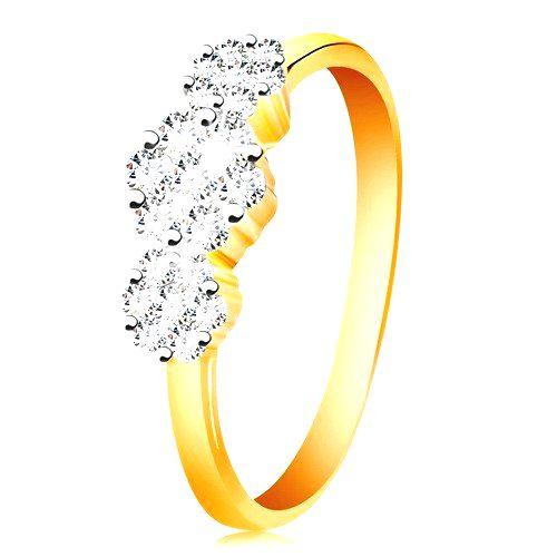 Zlatý prsteň 585 - tri ligotavé kvety z čírych zirkónov