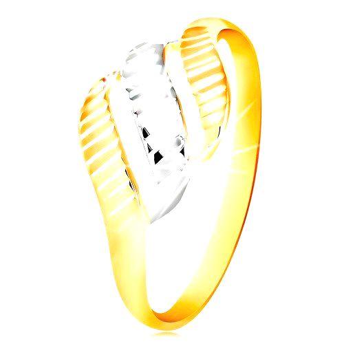 Zlatý prsteň 585 - tri vlnky zo žltého a bieleho zlata