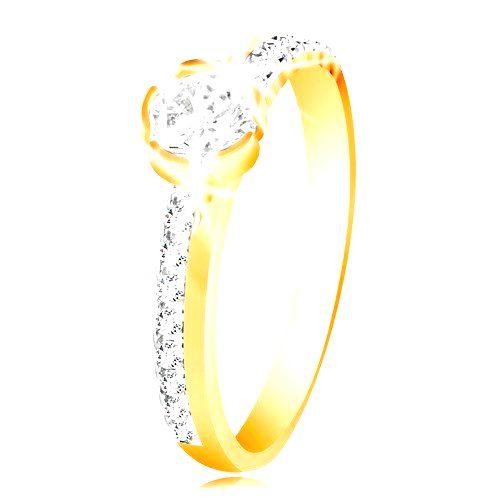 Zlatý prsteň 585 - úzke zirkónové línie na ramenách