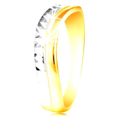 Zlatý prsteň 585 - vlnka z bieleho a žltého zlata