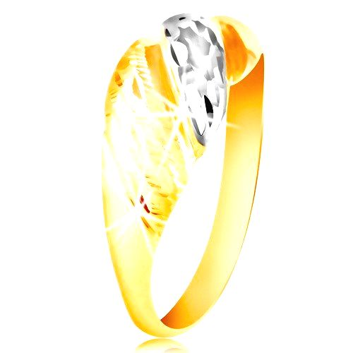 Zlatý prsteň 585 - vypuklé pásy žltého a bieleho zlata