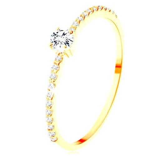 Zlatý prsteň 585 - vyvýšený číry zirkón