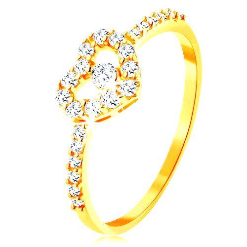 Zlatý prsteň 585 - zirkónové ramená