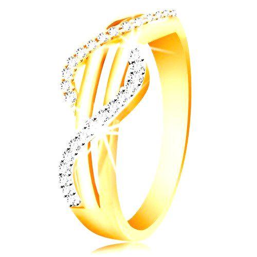 Zlatý prsteň 585 - zirkónové vlnky zo žltého a bieleho zlata