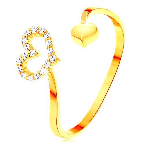 Zlatý prsteň 585 - zvlnené ramená ukončené obrysom srdca a plným srdiečkom - Veľkosť: 60 mm
