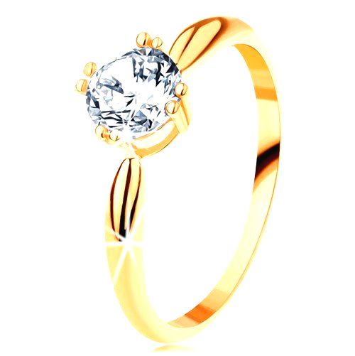 Zlatý zásnubný prsteň 585 - zaoblené ramená