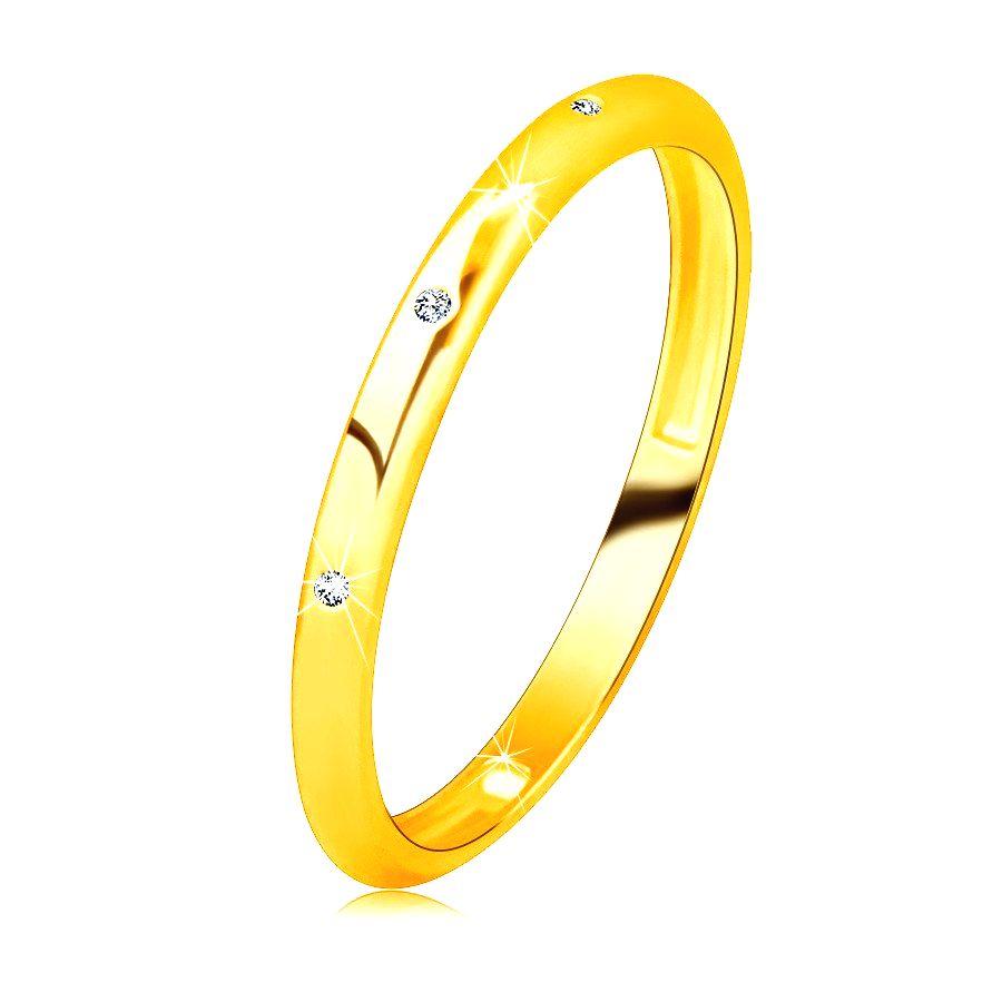Briliantová obrúčka zo 14K žltého zlata - tri okrúhle číre diamanty