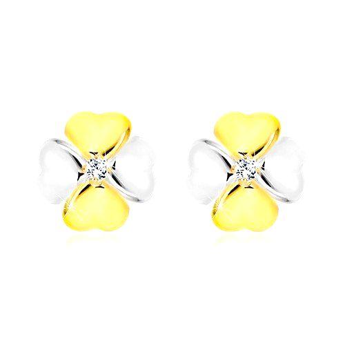 Briliantové náušnice z kombinovaného 14K zlata - symbol šťastia s diamantom