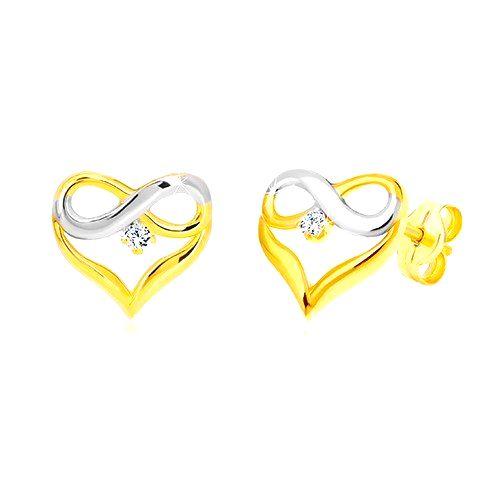 Briliantové náušnice z kombinovaného zlata 585 - kontúra srdca