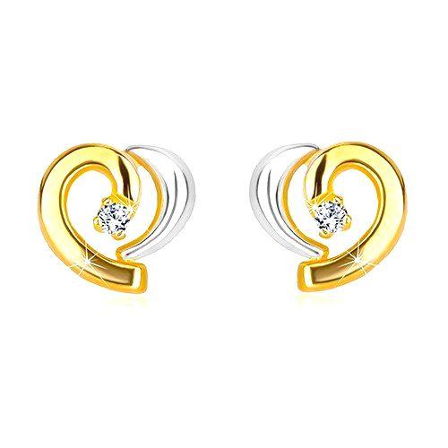 Diamantové náušnice v kombinovanom zlate 585 - asymetrické srdiečko s briliantom