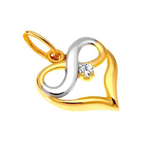 Diamantový zlatý prívesok 585 - dvojfarebné srdce