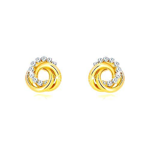 Náušnice v žltom 14K zlate - dva prstence a zirkónový kruh