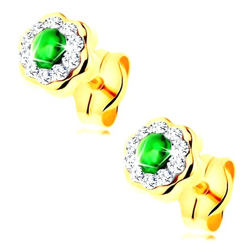 Náušnice v žltom 14K zlate - ligotavý kvietok s okrúhlym smaragdom v strede