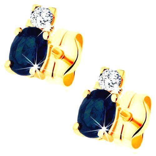 Náušnice v žltom 14K zlate - žiarivý číry diamant a oválny modrý zafír