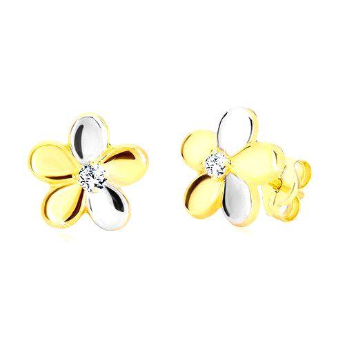Náušnice z kombinovaného zlata 585 - lesklý dvojfarebný kvet