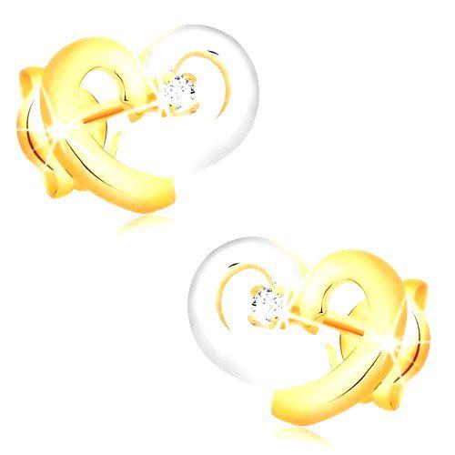 Náušnice zo 14K kombinovaného zlata - srdce zo žltého a bieleho zlata