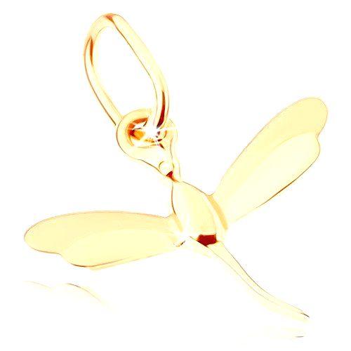 Prívesok v žltom 9K zlate - malá letiaca vážka