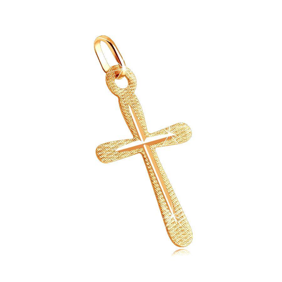 Prívesok v žltom zlate 585 - plochý kríž