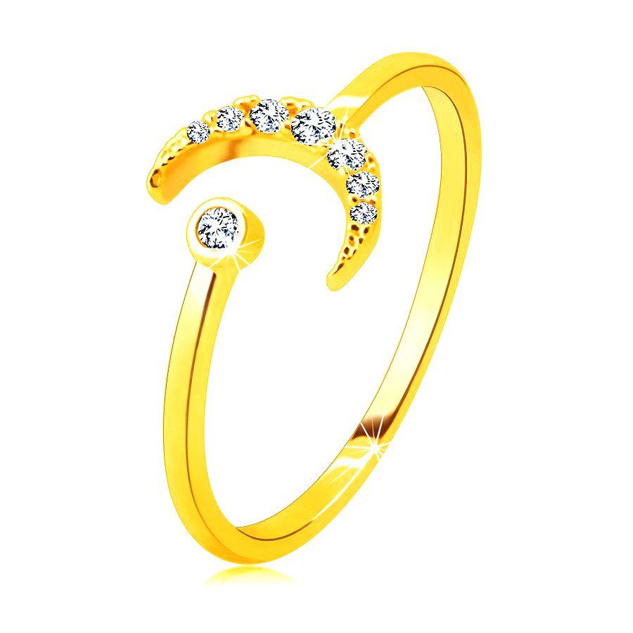 Prsteň zo 14K zlata - mesiac zdobený zirkónmi