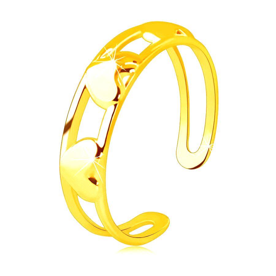 Prsteň zo 14K zlata - tri súmerné zrkadlovolesklé srdcia medzi dvoma líniami - Veľkosť: 58 mm