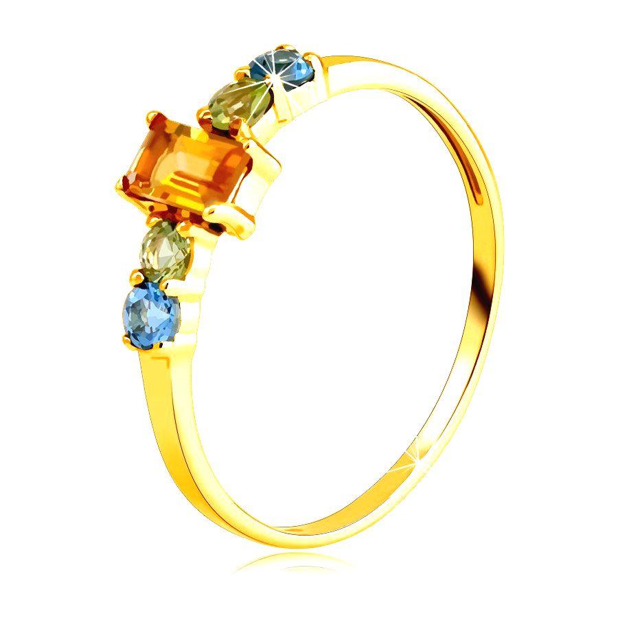 Prsteň zo žltého 14K zlata - hranatý citrín